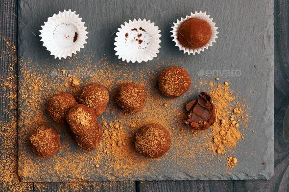 Homemade chocolate truffles - Stock Photo - Images