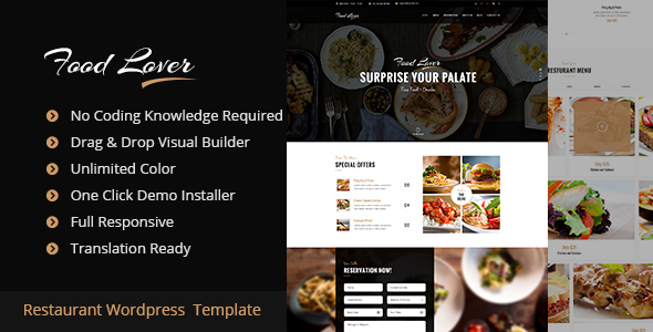 Food Lover Restaurant WordPress Theme