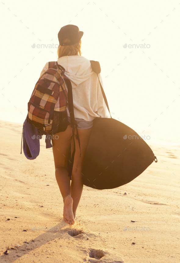 Blonde surfer Girl - Stock Photo - Images