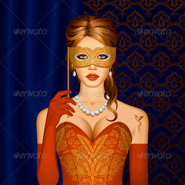 Venetian Beauty In A Mask - People Characters