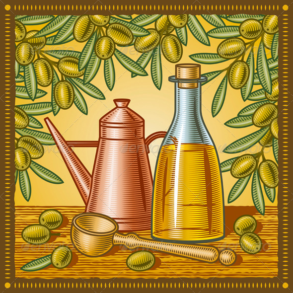 Retro Olive Oil Still Life - Food Objects