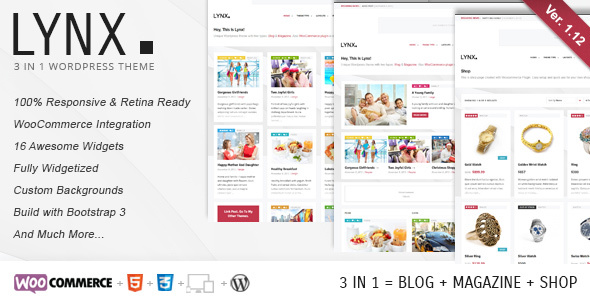 Lynx 3 in 1 - Retina Responsive Wordpress Theme - Blog / Magazine WordPress