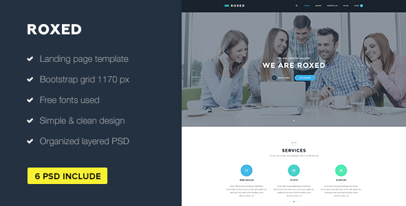 Roxed — Landing Page PSD Template - PSD Templates