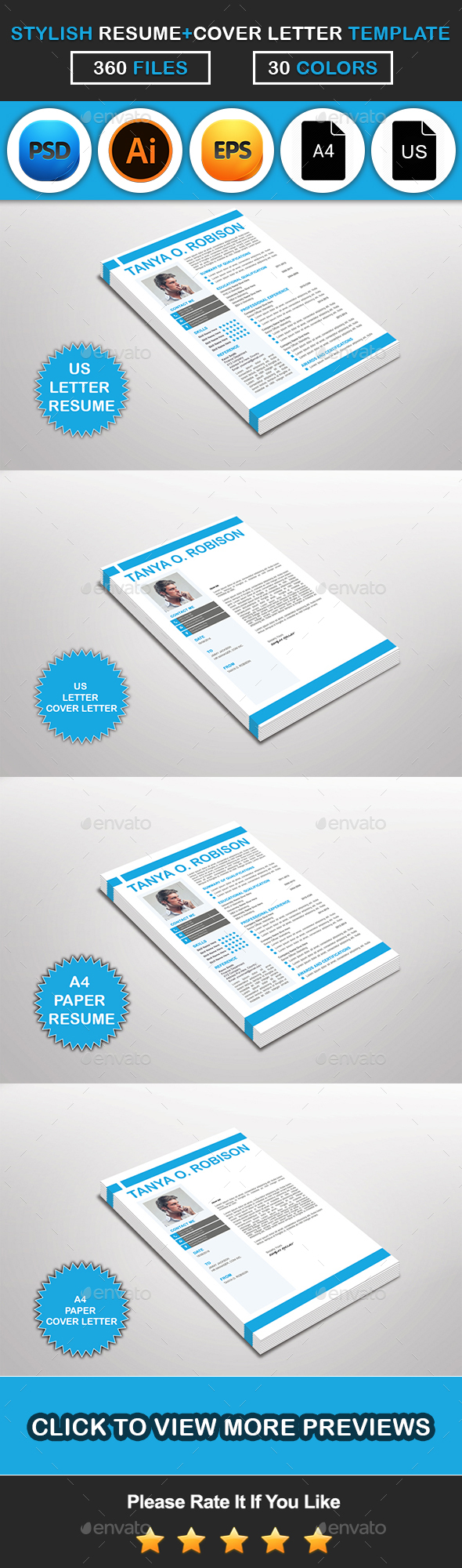 Stylish Resume & Cover Letter Template Design - Resumes Stationery