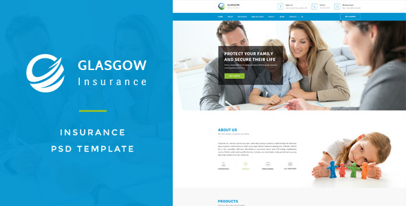Glasgow : Insurance PSD Template - Business Corporate