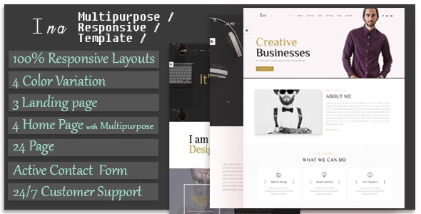 Ina – Responsive Multipurpose Corporate, Business & Portfolio Template