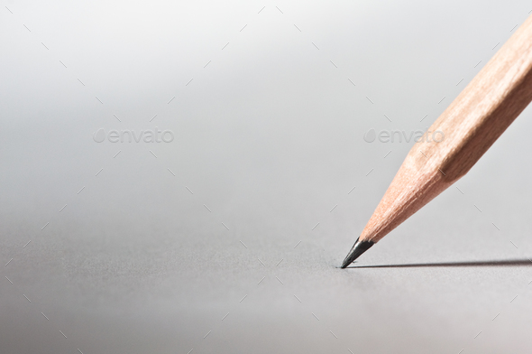 pencil on the paper, close up - Stock Photo - Images