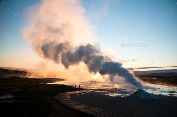 small active volcano in Iceland - Stock Photo - Images
