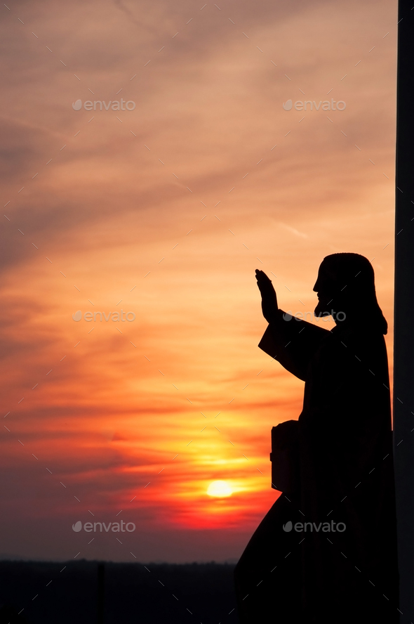 statue of Jesus giving blessing - Stock Photo - Images