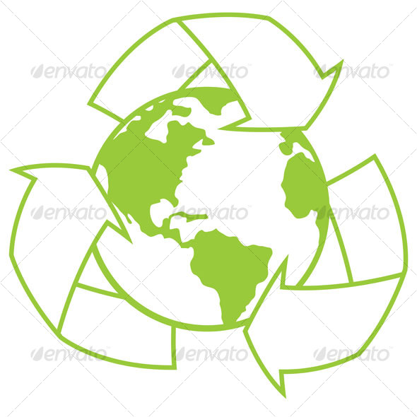 Planet Earth With Recycle Symbol - Decorative Symbols Decorative