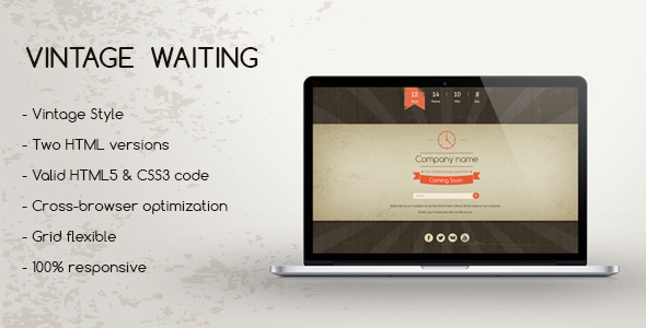 Vintage Waiting – Coming Soon HTML5 Template