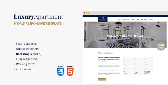 Luxury Apartment – Single property HTML5 template