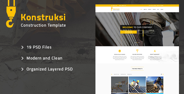 Konstruksi – Construction and Building PSD Template