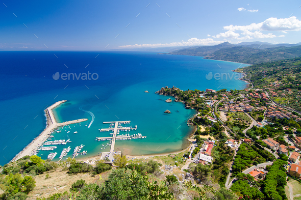 Aerial view of the Cefalu, Sicily, Italy. - Stock Photo - Images