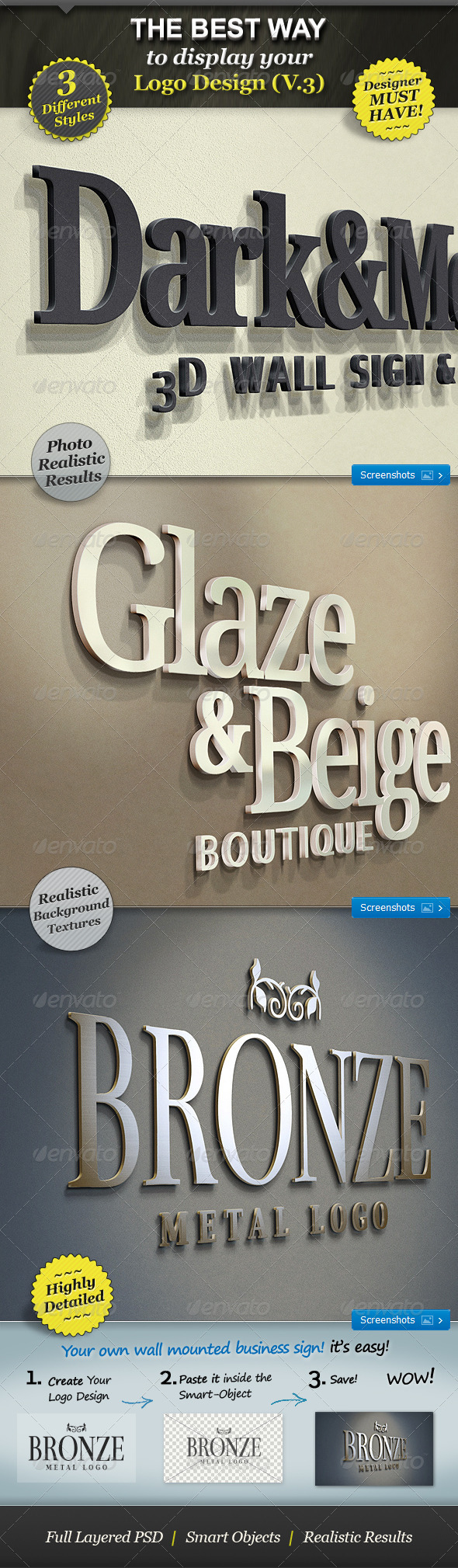 Realistic 3D Wall Logo Mockup - Smart Template V.3 - Logo Product Mock-Ups