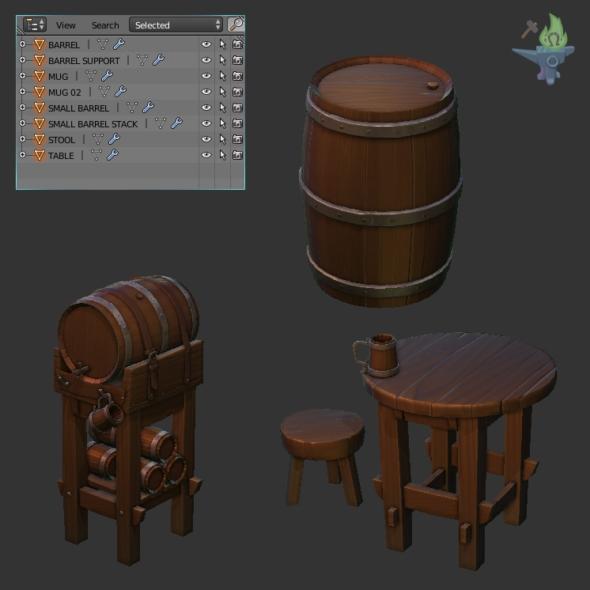 Medieval Tavern Barrel - 3DOcean Item for Sale