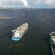 Aerial View Of Container Ship Sails To Port - VideoHive Item for Sale
