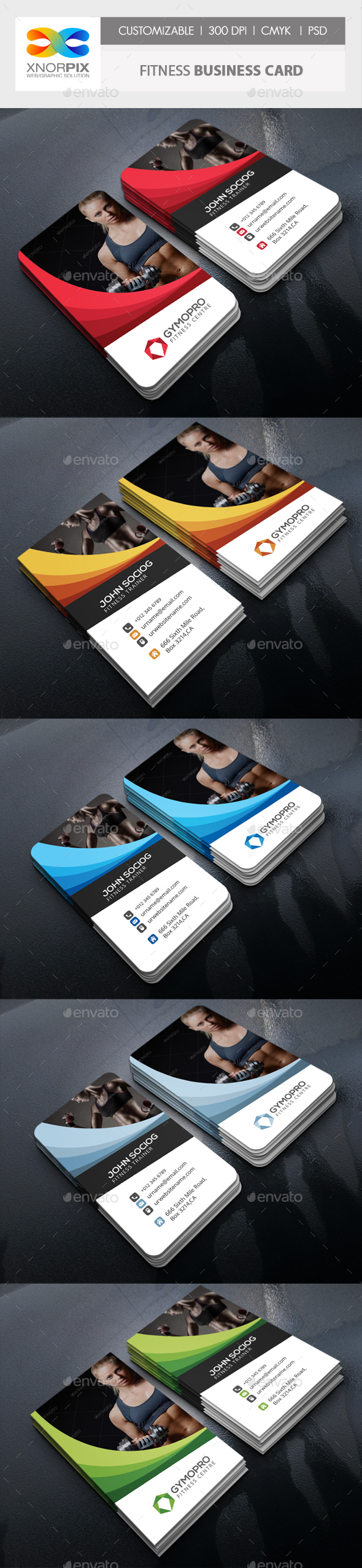 Fitness Business Card by -axnorpix | GraphicRiver