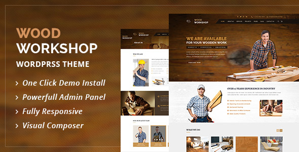 Wood Workshop – Carpenter and Craftsman WordPress theme