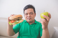 which one to choose between apple and hamburger - PhotoDune Item for Sale