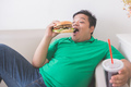 lazy overweight man eating hamburger while laying on a couch - PhotoDune Item for Sale