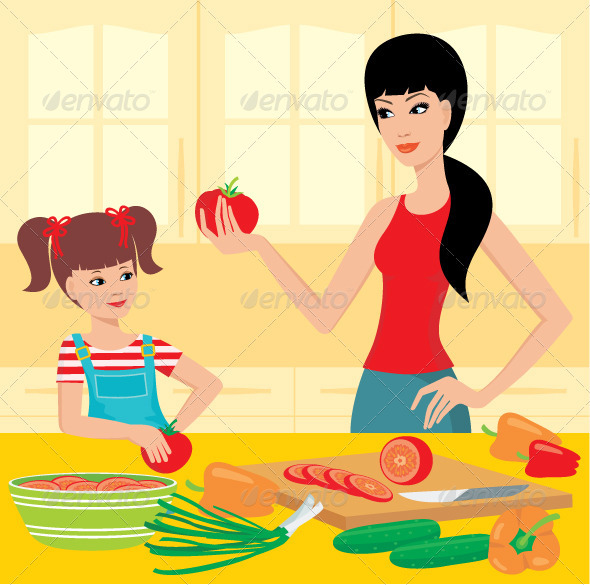 Mum learns the daughter to prepare - Characters Vectors