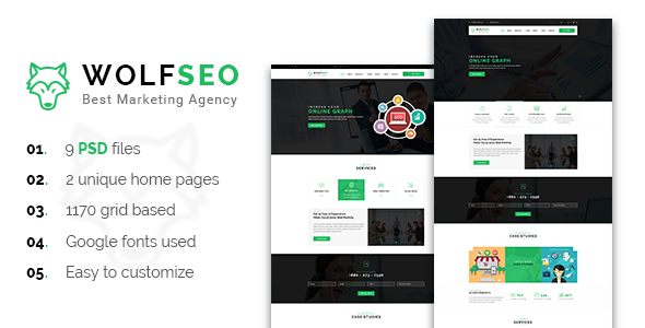 WOLFSEO - Digital Marketing Agency PSD Template - Marketing Corporate