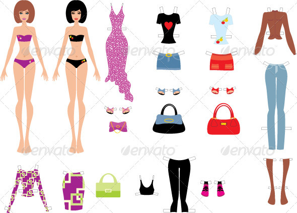 Paper dolls with clothes - Objects Vectors