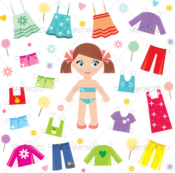 Paper doll with clothes set - Objects Vectors