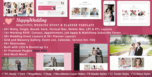HappyWedding - Beautiful Wedding Event & Planner Responsive HTML5 Template - Wedding Site Templates