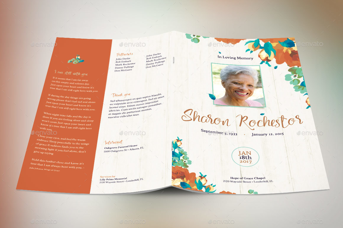 Preview Image Set AFFP/Autumn Floral Funeral Program V2 Preview 1  Preview Image Set AFFP/Autumn Floral Funeral Program V2 Preview 2 ...  Funeral Flyer Template