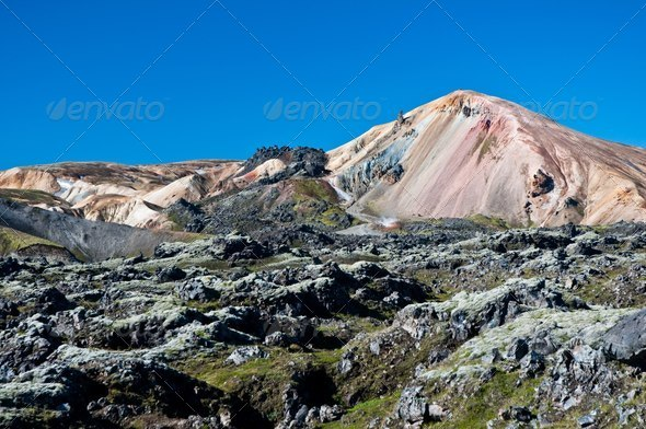 Landmannalaugar , rainbow mountains in Iceland - Stock Photo - Images