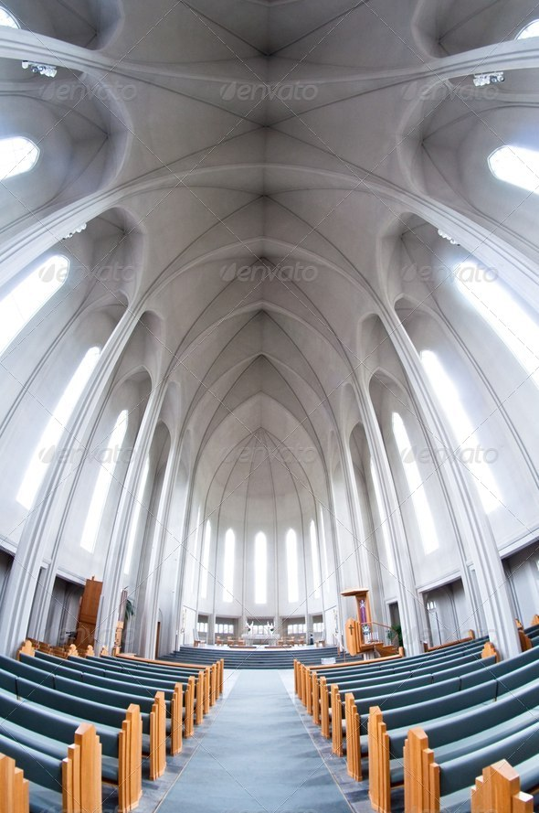 interior of modern Hallgrimskirkja church, Iceland - Stock Photo - Images