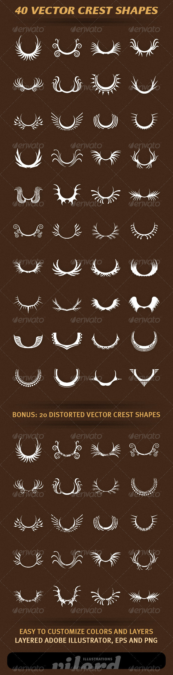 40 Vector Crest Shapes - Decorative Vectors