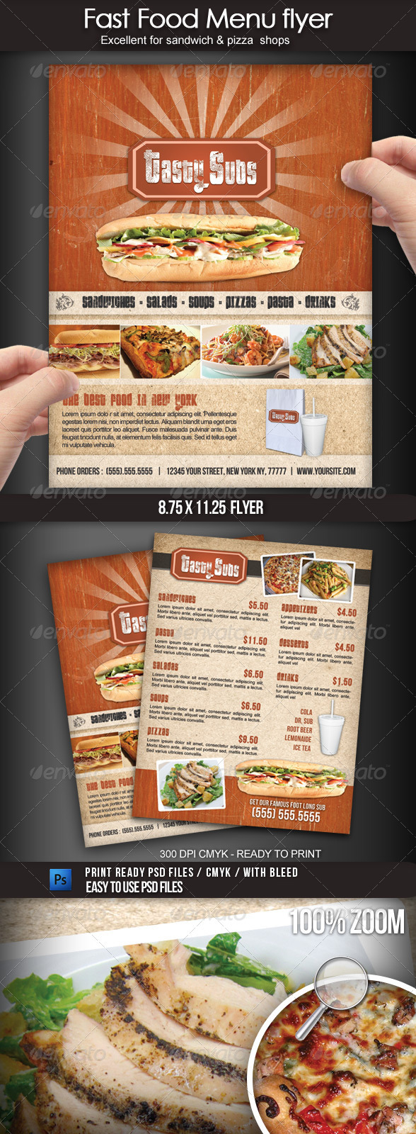 Fast Food Menu Flyer - Food Menus Print Templates