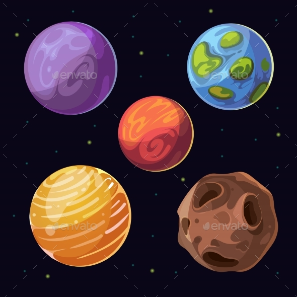 cartoon alien planets  moons asteroid on space by game clan logo maker game logo maker online free