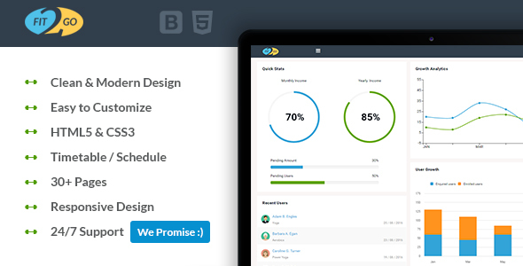Fit2Go – Beautiful Gym Fitness Admin Template