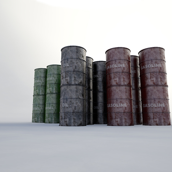 Metallic Barrels - 3DOcean Item for Sale
