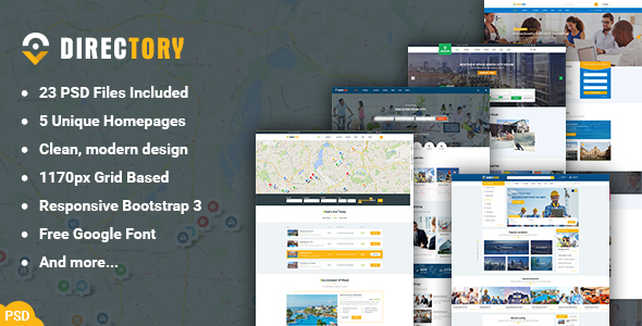 Directory - Directory and Listings PSD Template - PSD Templates