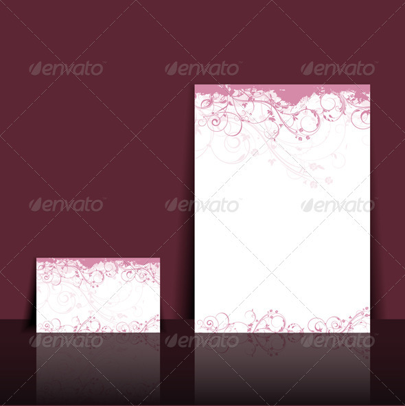 Letterhead and business card layout - Backgrounds Business