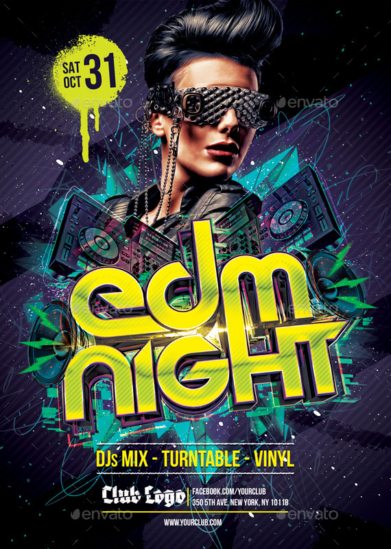 edm night flyers template by graphicripper graphicriver. Black Bedroom Furniture Sets. Home Design Ideas