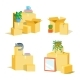 Cardboard Boxes For Moving Set. Vector - GraphicRiver Item for Sale