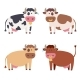 Cute Cow Set. Vector - GraphicRiver Item for Sale