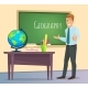 Geography Teacher Stands at the Blackboard - GraphicRiver Item for Sale