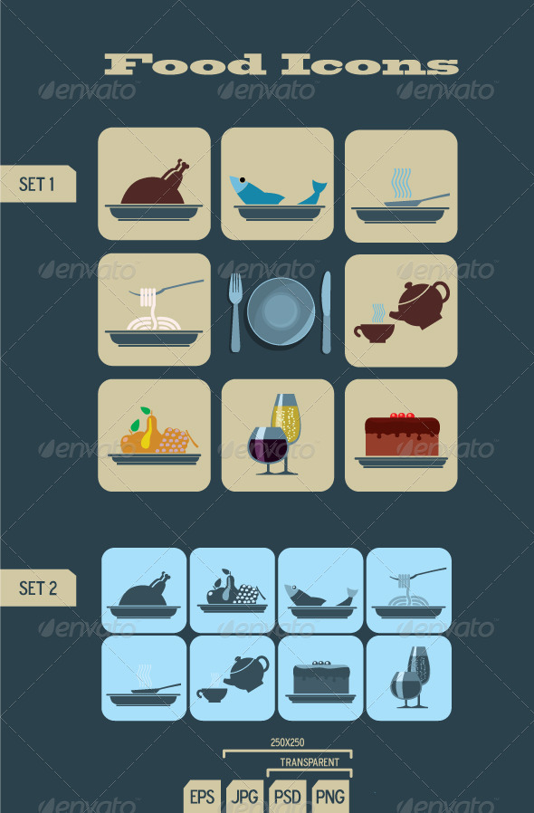 Foods & Beverages Icons - Food Objects