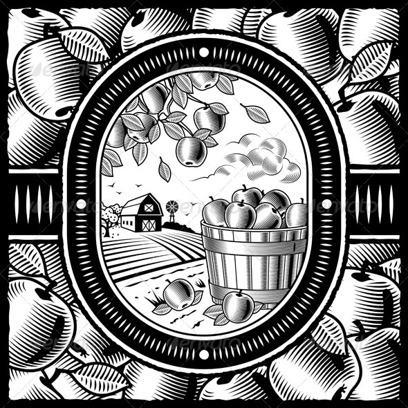 Apple Harvest Black And White - Food Objects