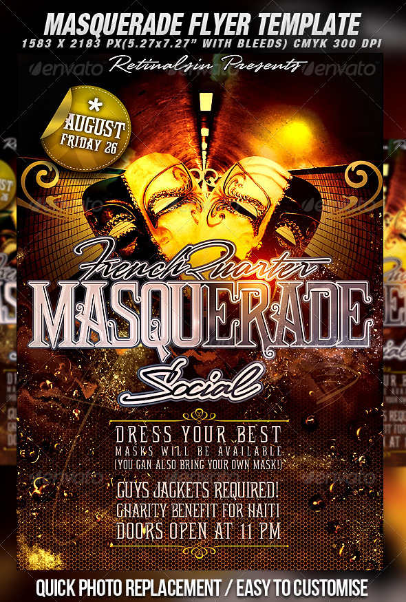 masquerade flyer template clubs parties events