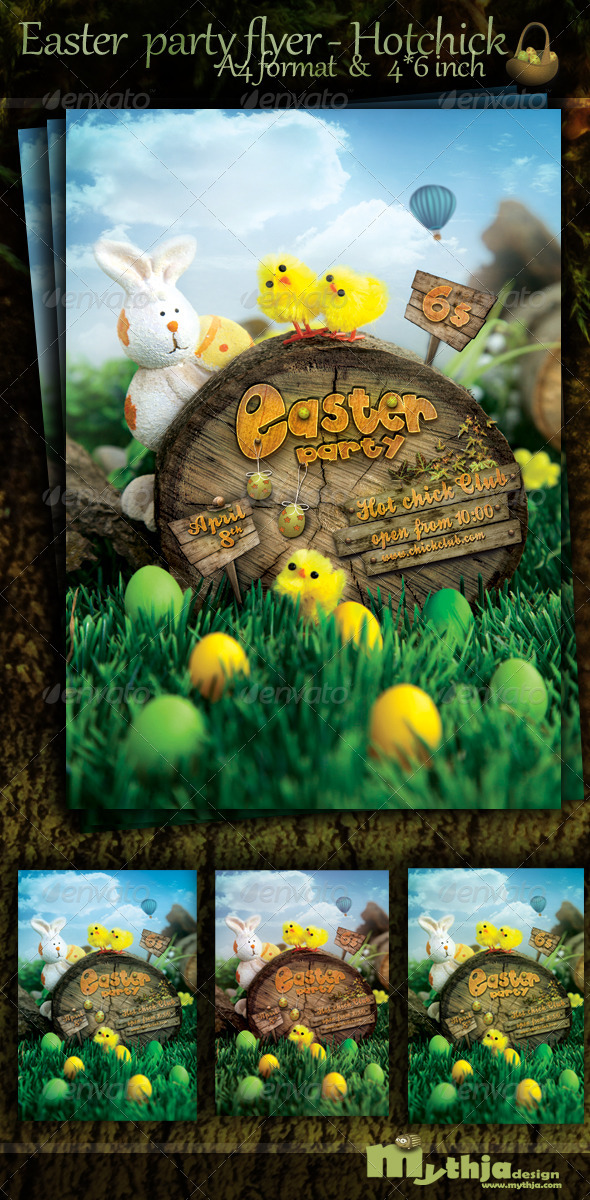 Easter Nature Party Flyer - Hotchick club - Flyers Print Templates
