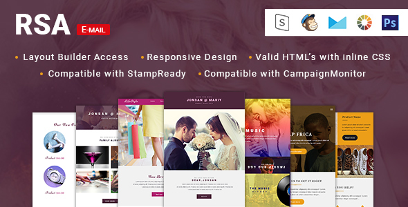 RSA-4 Unique eCommerce Multipurpose Email Template + Stampready builder - Email Templates Marketing