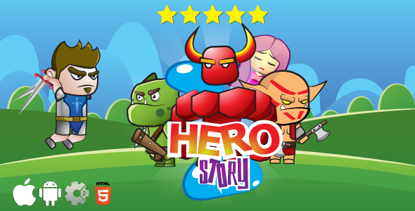 Hero story - HTML5 game. Construct 2 (.capx) + cocoon ADS - CodeCanyon Item for Sale